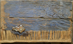 """Orizzonte da """"la pioggia sul mare, 35,5x58,5 cm. RETRO:Orizzonte; da """"la pioggia sul mare; Repertorio Uno."""
